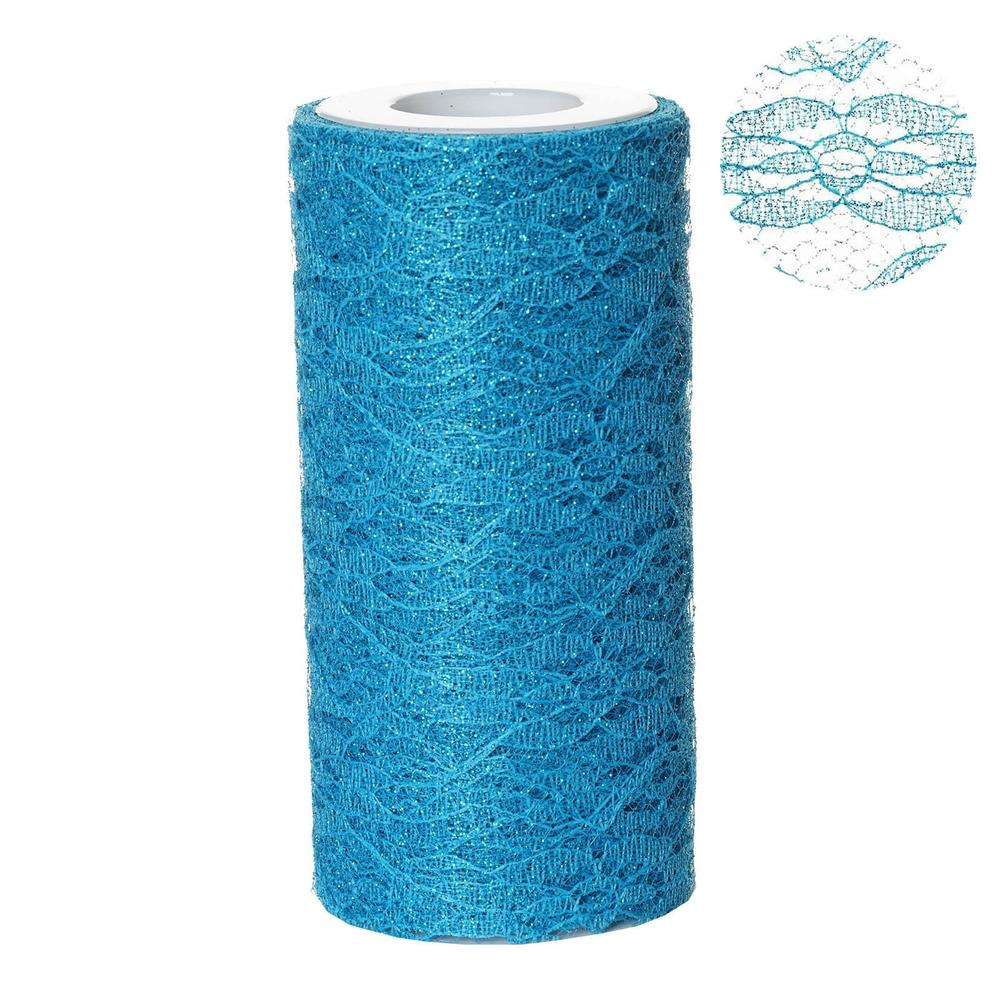 "Floral Shimmer Lace Glitter Tulle Fabric Roll For Wedding Party Decorations - Turquoise- 6""X10 YARDS"