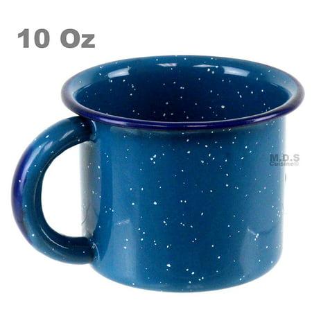 "De Buman Enamel (Pocillo De Peltre Blue Azul Enamel Coated 3.5"" 10 Oz Cup Capacity Traditional Mexican Coffee Hot Chocolate Camping)"