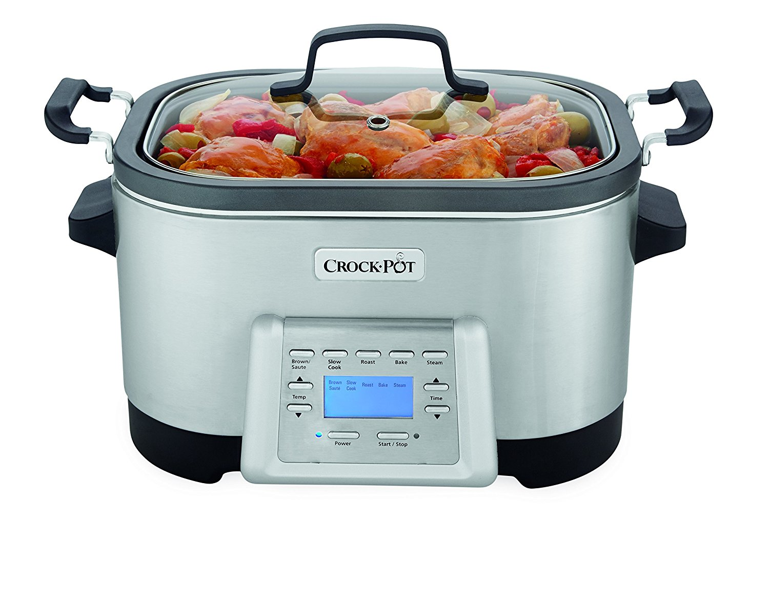 Crock-Pot 6-Quart 5-in-1 Multi-Cooker with Non-Stick Inner Pot, Stainless Steel