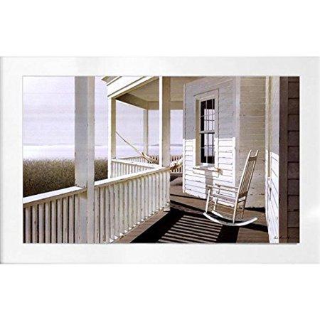 Framed Morning Light Rocker By Zhen Haun Lu 30X18 Art Print Poster Wall Decor Coastal Porch Cottage Seacoast