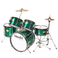 "Mendini by Cecilio 16"" 5-Piece Complete Kids / Junior Drum Set with Adjustable Throne, Cymbal, Pedal & Drumsticks, Metallic Green, MJDS-5-GN"