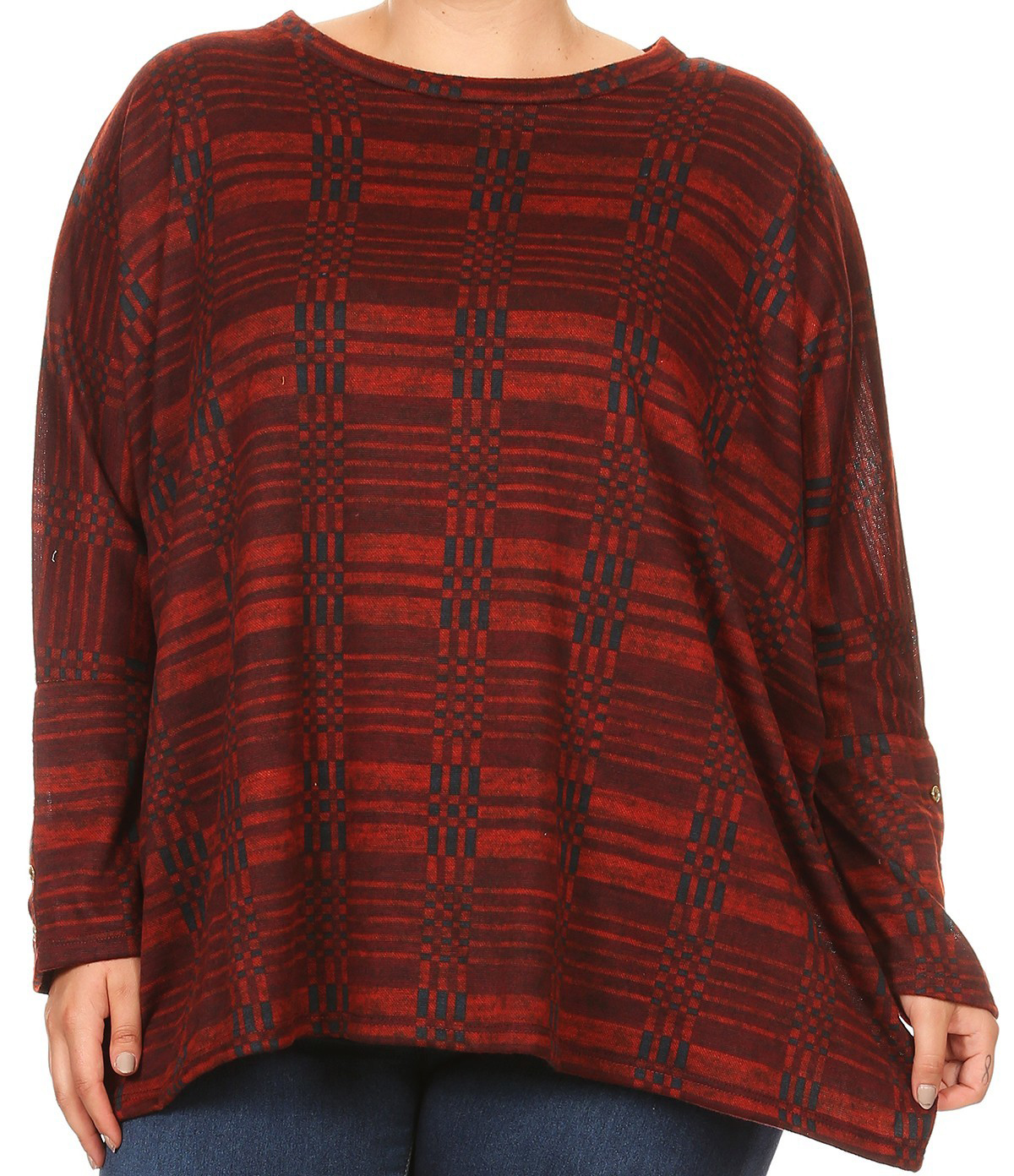 BNY Women Plus Size Long Sleeve Relaxed Striped Pattern Knit Top Tee Blouse Burgundy XL B527 PRT