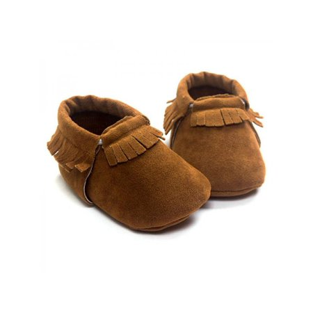 Ropalia New Cute Baby Kids Boys Girls Shoes Tassel Suede Leather Shoes Toddler Moccasin Soft Crib Shoes 0-18M