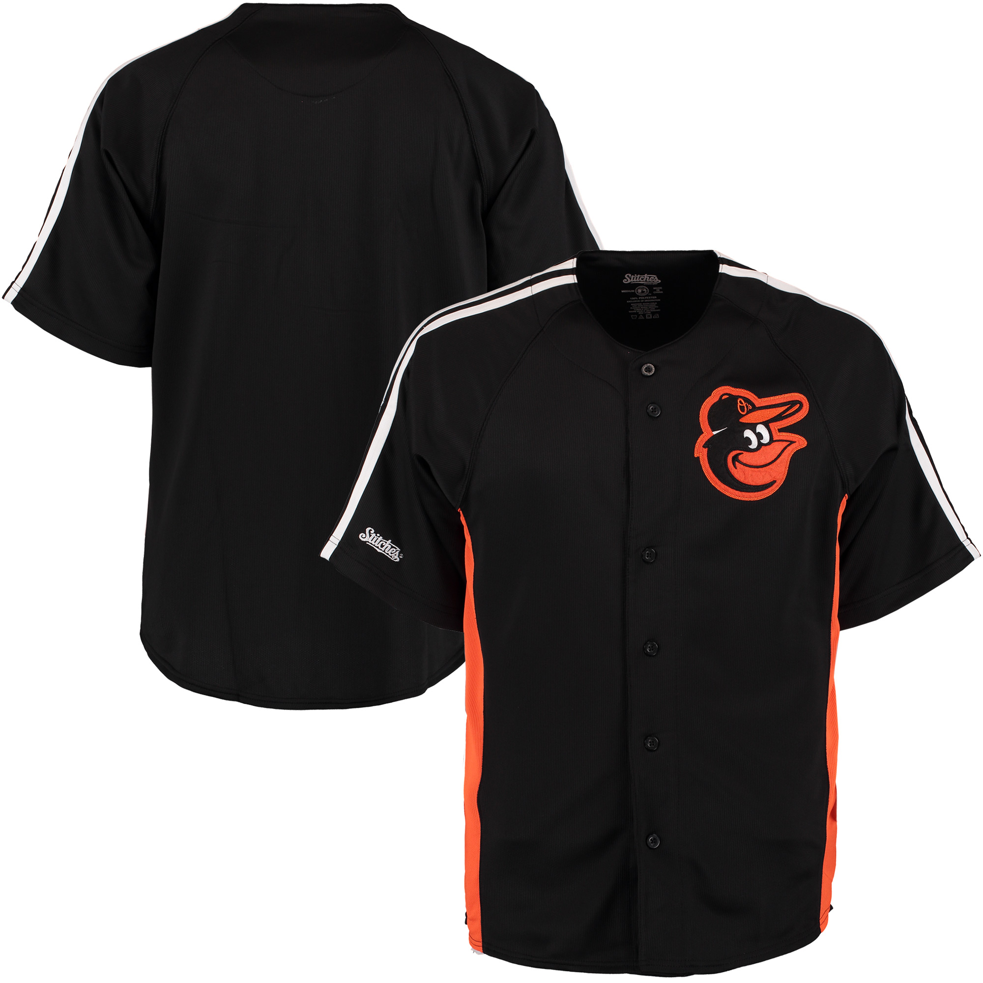 Baltimore Orioles Stitches Cut off Man Fashion Full Button Jersey - Black