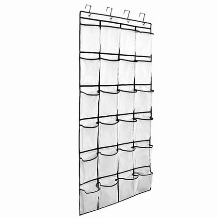 Over the Door Hanging Shoe Organizer, 24 Large Mesh Pockets Shoes Storage and Closet Organizer With 4 Unique Customized Strong Metal Hooks for Kitchen Accessory Holder - Space Saving Solution (White) - Optimizers Six Pocket Organizer