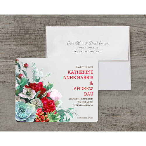 Floral Wedding Save the Date Postcard