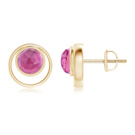 October Birthstone Earrings - Bezel Set Pink Tourmaline Concentric Circle Stud Earrings in 14K Gold - SE1511PT-YG-AAA-5