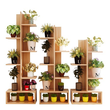Flower Pot Shelf Stand Display Book Case Cases Bookshelf Shelving Wood Shelves - 3 Shelf