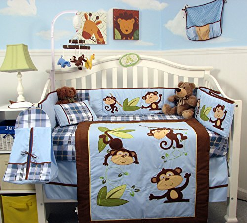 SoHo Playful Monkey Baby Crib Nursery Bedding Set PLUS FREE BABY CARRIER FOR LIMITED TIME OFFER ONLY!!