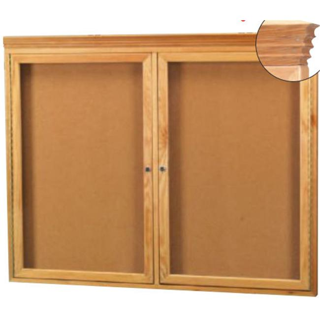 Aarco Products OBC3672RC Enclosed Bulletin Board with Natural Oak Frame