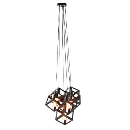 Decmode 59 Inch Contemporary 6-Light Cube Pendant, Black