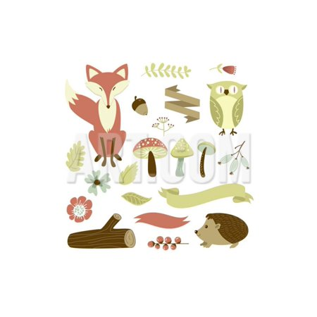 Autumn Forest, Woodland Animals, Flowers and Ribbons Print Wall Art By Alisa Foytik