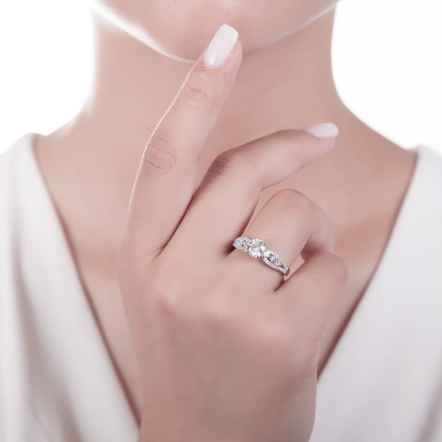 BERRICLE Rhodium Plated Sterling Silver Solitaire Promise Ring Made ...