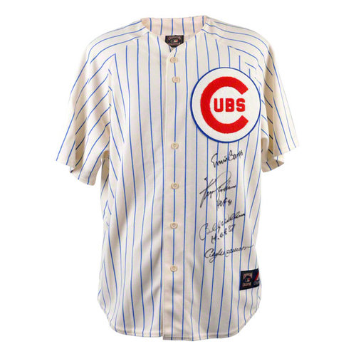 MLB - Ernie Banks, Fergie Jenkins, Billy Williams, Andre Dawson Autographed Jersey | Details: Chicago Cubs, White Pinstripe Majestic