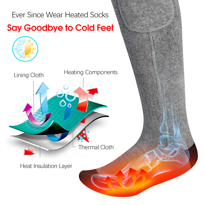 USB Charging Socks Without Equipped Battery Suitable for Men and Women Outdoor Activities Warm Leg Warm Socks BrilliStar Heated Socks 3 Heat Settings