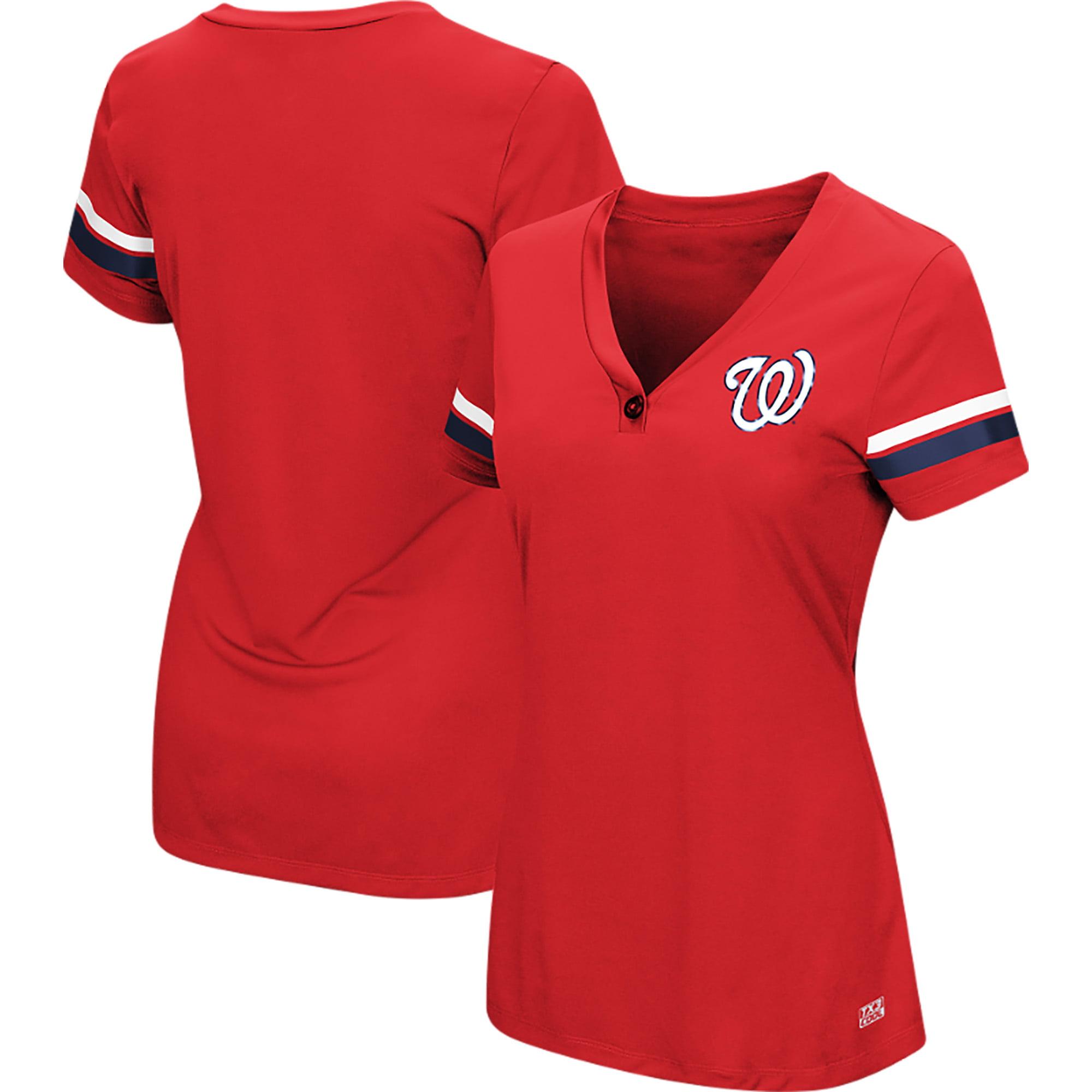 Women's Majestic Red Washington Nationals Plus Size Sparkling Fun Button V-Neck T-Shirt