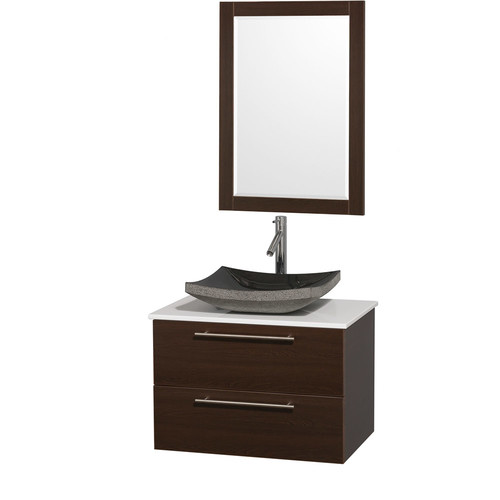 Wyndham Collection Amare 30 inch Single Bathroom Vanity in Espresso with Green Glass Top with Carrera Marble Sink, and 24 inch Mirror