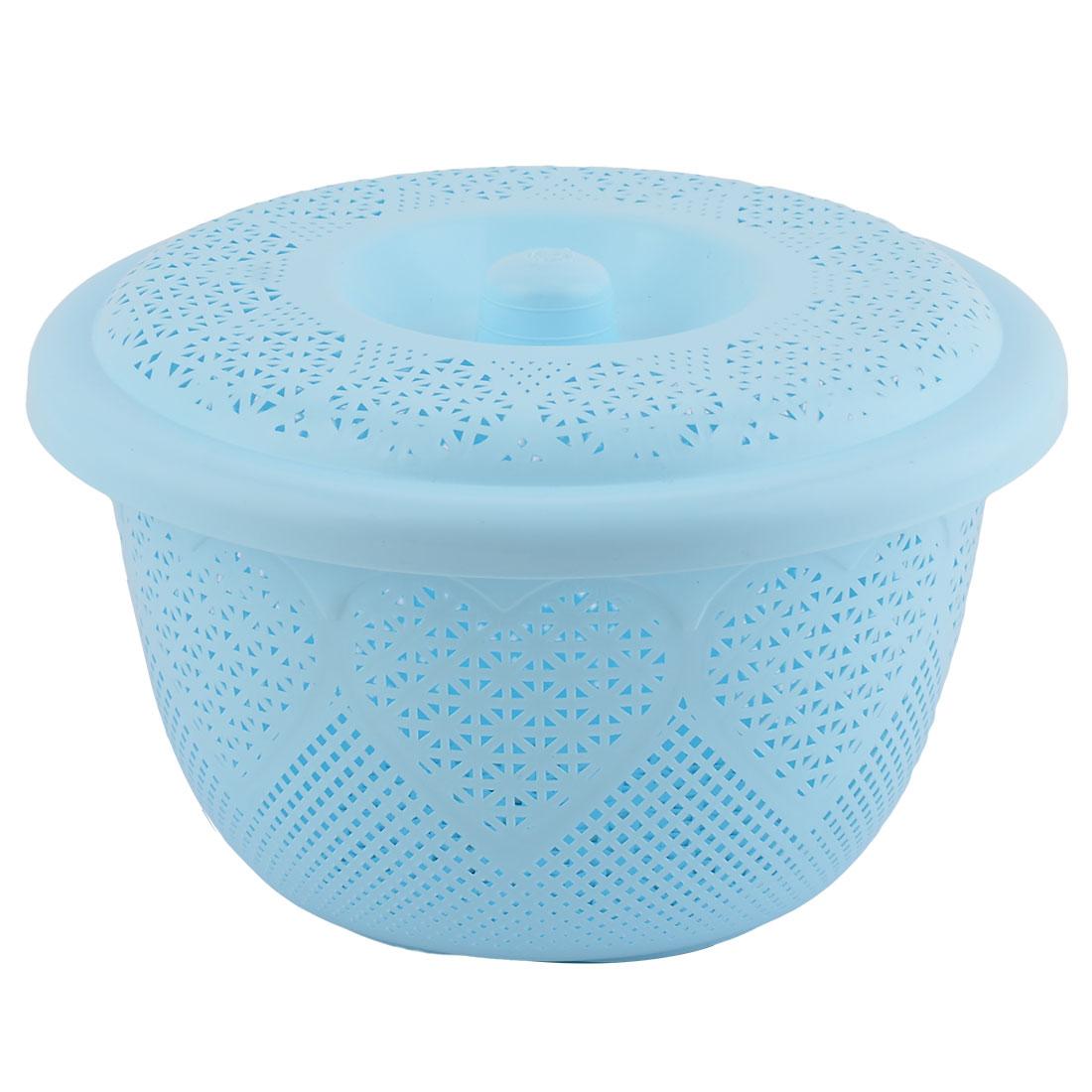 Click here to buy Home Plastic Fruit Vegetable Washing Colander Strainer Basket Plate Light Blue.