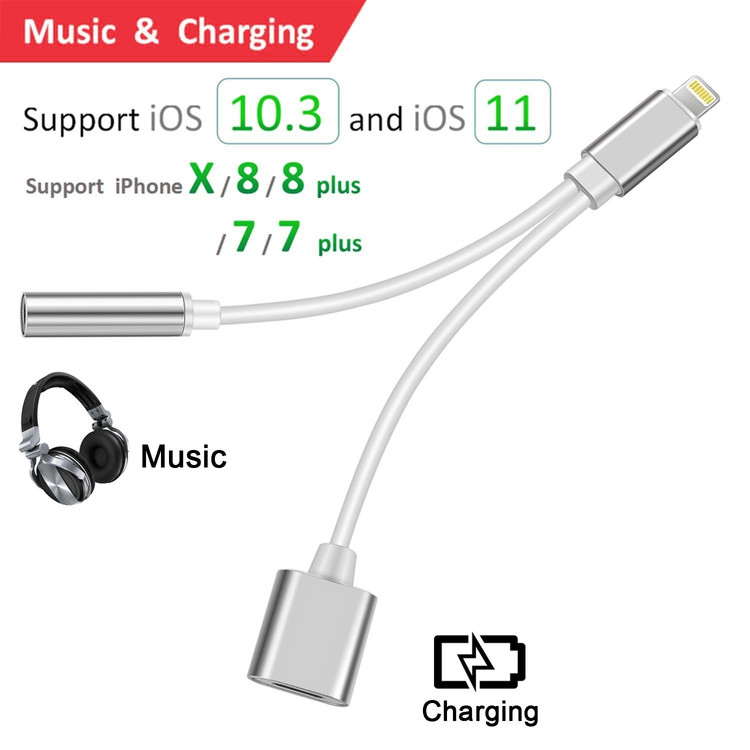 2 in 1 Lightning , iphone 7 Plus Adapter Lightning to 3.5mm Aux Headphone Jack and Charger Cable for iPhone 7 / 8 Support IOS 11 or IOS 10.3 -Silver