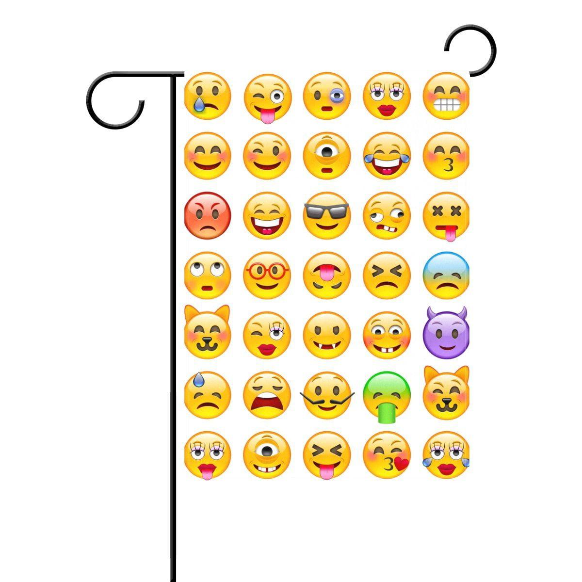 POPCreation Yellow Emoji Emoticon Garden Flag Banner 12x18 ...