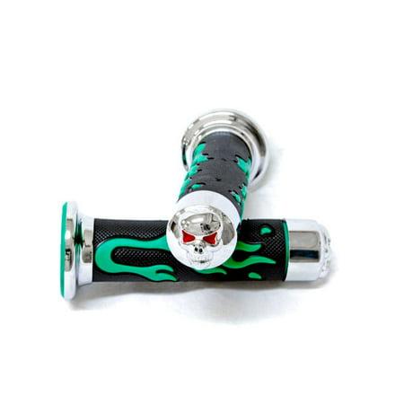 Krator ATV / PWC Skull Gel Grips Handgrip Green Flame Set For Honda - Prarie Green