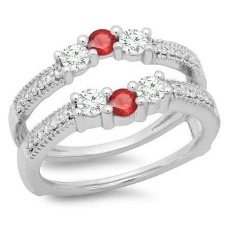 0.80 Carat (ctw) 18K White Gold Round Cut Ruby & White Diamond Ladies Anniversary Wedding Band 3 Stone Enhancer Guard Do