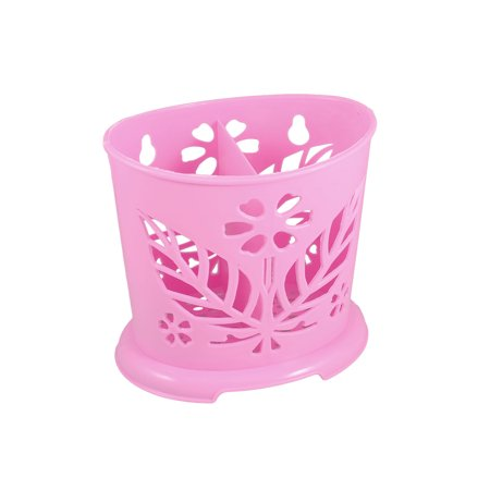 Unique Bargains Unique Bargains Pink Cut Out Maple Leaf Accent 2 Compartments Plastic Chopsticks Holder