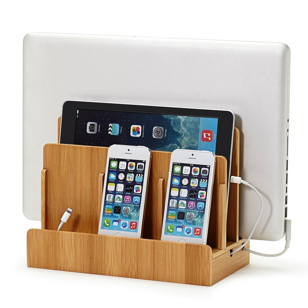 Black Leatherette Multi-Device Charging Station and Dock