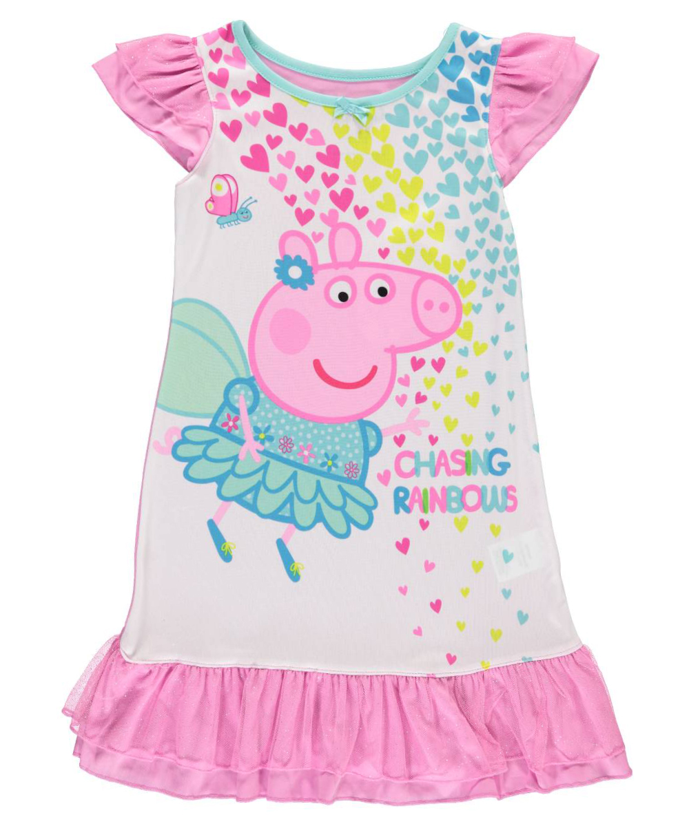 "Peppa Pig Little Girls' Toddler ""Chasing Rainbows"" Nightgown (Sizes 2T - 4T)"