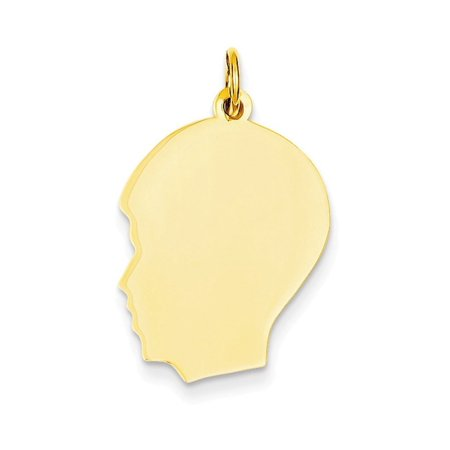 - 14k Plain Medium .009 Gauge Facing Left Engravable Boy Head Charm