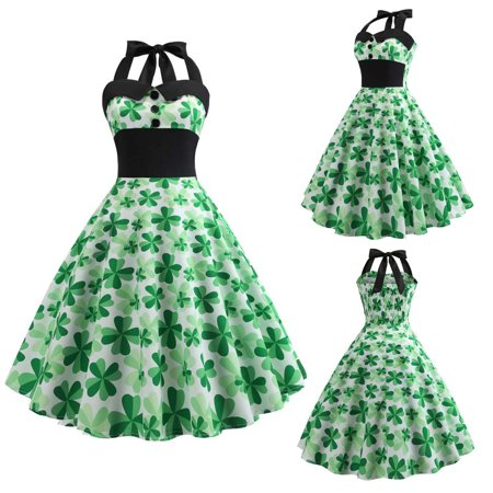 St. Patrick's Day Women Vintage 1950s Retro Halter Sleeveless Prom Swing Dress - St Patricks Dress