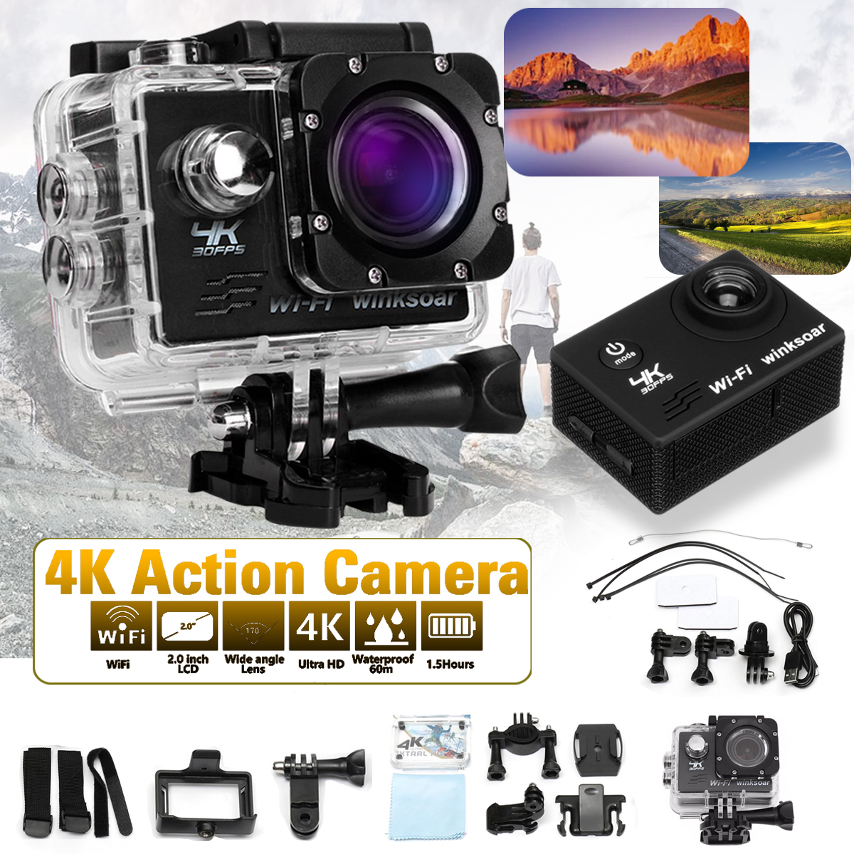 Winksoar SJ9000 Sports Action Camera WiFi HD 4K 1080P 16MP 120° Wide-angle Mini DV Recorder DV Camcorder Waterproof New Year Christmas Gifts Kids