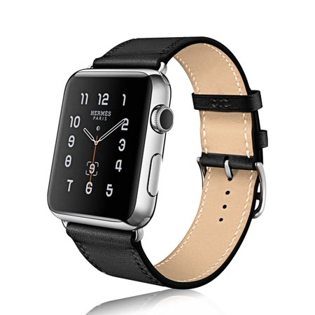 Apple watch band, Mignova Genuine Leather iwatch strap Replacement Band with Stainless Metal Clasp for apple watch Series 3, Series 2, Series 1, Sport, Edition (42mm - Black) ()