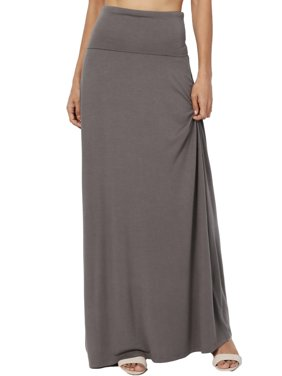 TheMogan Women's S~3X Casual Draped Jersey Foldable Waist Relaxed Long Maxi Skirt