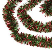 """Northlight 50' x 3"""" Unlit Red/Green Wide Cut Tinsel Christmas Garland"""