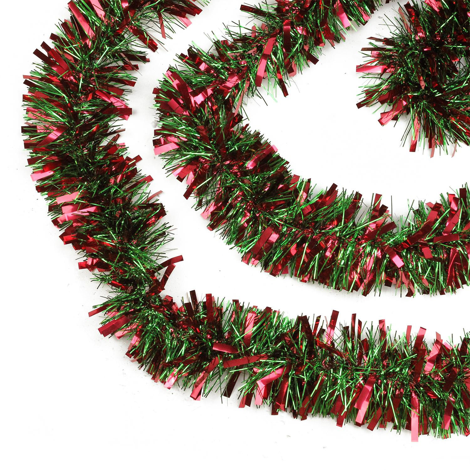 "Northlight 50' x 3"" Unlit Red/Green Wide Cut Tinsel Christmas Garland"