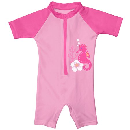 - i play. Baby One Piece Swim Sunsuit, Pink Seahorse, 6 Months