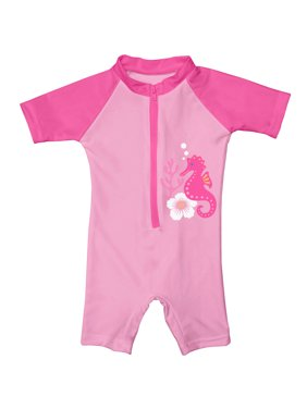 i play. Baby One Piece Swim Sunsuit, Pink Seahorse, 6 Months