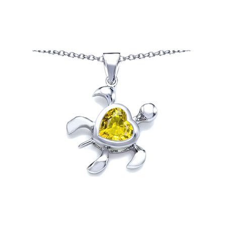 Star K Large 10mm Heart Shape Simulated Citrine Sea Turtle Pendant Necklace in Sterling Silver