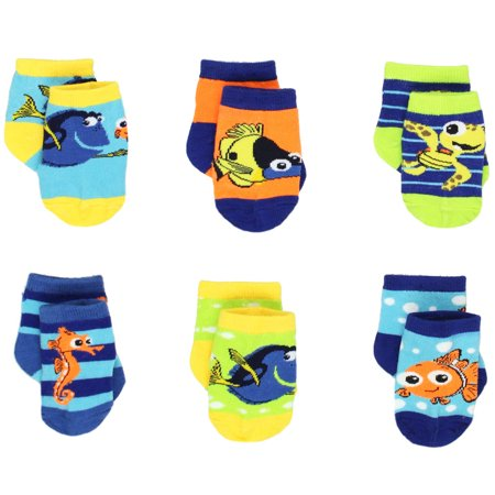 Finding Nemo Dory Baby Boys 6 pack Socks IDK01971 Join Nemo on new adventures wearing these adorable Finding Nemo baby socks! Six pairs in each set provide variety and excitement with each pair featuring different colors and graphics of your favorite Disney Finding Nemo characters: Dory, Nemo, Squirt, Tad, and Sheldon! With vibrant colors and tons of variety, this 6 pack infant sock set is sure to be a hit! It's the perfect sock set for any Finding Dory or Finding Nemo fan!