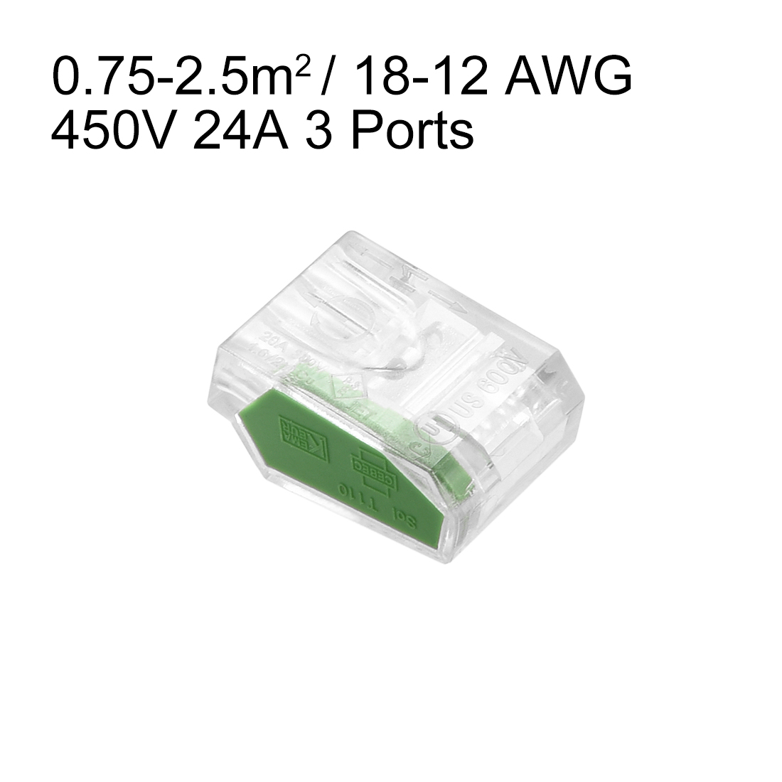 Push-In Electrical Wire Connectors 18-12 Awg 3-Port 450V Clear Green 10 Pcs - image 2 de 3