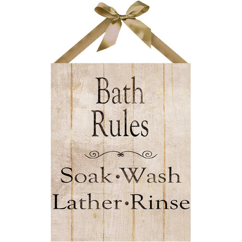 PTM Images Bath Rules Textual Art on Plaque