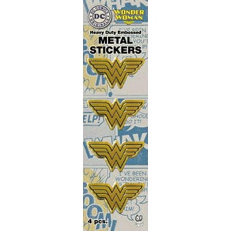 DC Comics Licensed Heavy Duty Embossed Metal Stickers 4/Pkg-Gold Wonder Woman Logo .75