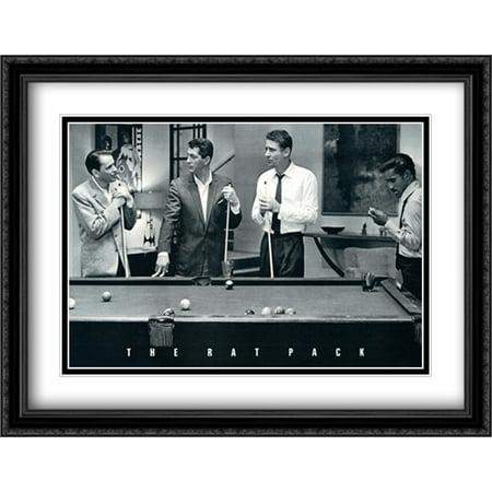 - Rat Pack-Shooting Pool 2x Matted 40x28 Large Black Ornate Framed Art Print