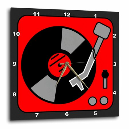 3dRose Retro Red and Black Record Player, Wall Clock, 15 by 15-inch
