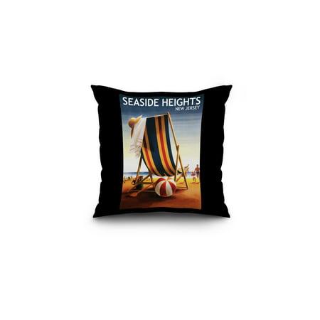 Seaside Heights, New Jersey - Beach Chair & Ball - Lantern Press Artwork (16x16 Spun Polyester Pillow, Black Border)