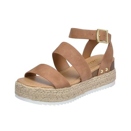 f6ac81f6639 Soda Bryce Tan Women's Open Toe Ankle Strap Espadrille Sandal