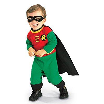 uhc baby boy's dc comics robin superhero infant outfit halloween costume, 6-12m
