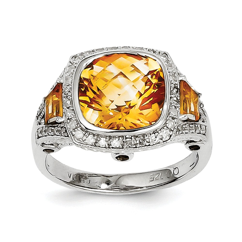 925 Sterling Silver (0.22cttw) Diamond and Citrine Ring Size-9 by