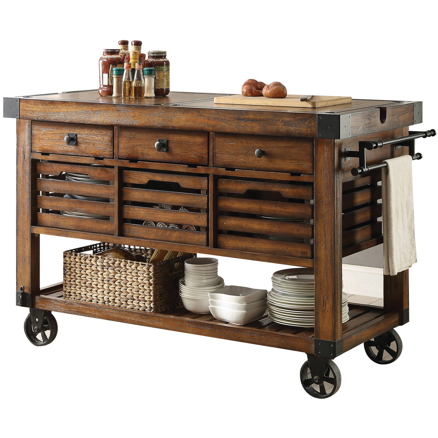 ACME Kaif Kitchen Cart, Distress Chestnut by Acme Furniture